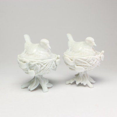 """Pair of Westmoreland """"Bird on Nest"""" Milk Glass Covered Dishes, circa 1910"""