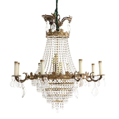 Empire Style Gilt Metal and Cut Glass Chandelier