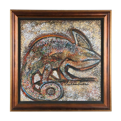 Pointillist Chameleon Oil Painting