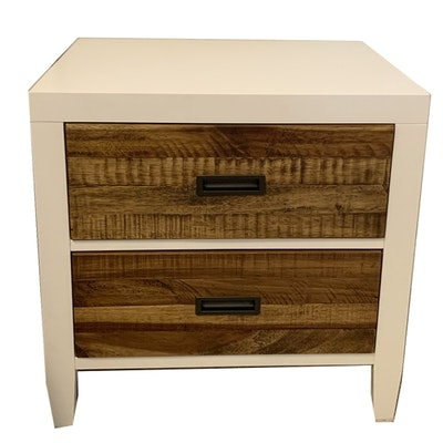 Contemporary Engineered and Rustic-Look Wood Nightstand