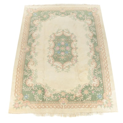 Hand-Knotted and Carved Indian Savonnerie Style Wool Room Sized Rug