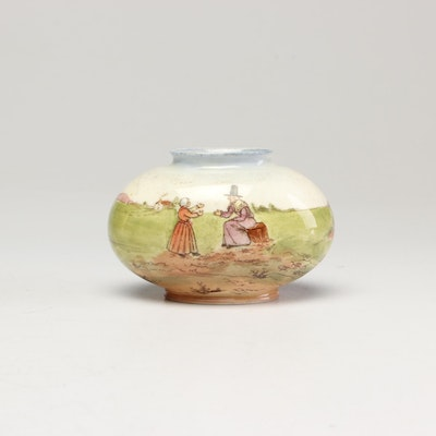 "Royal Doulton Seriesware ""Welsh Ladies"" Oval Vase, circa 1910"
