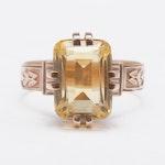 Vintage 14K Rose Gold Citrine Ring