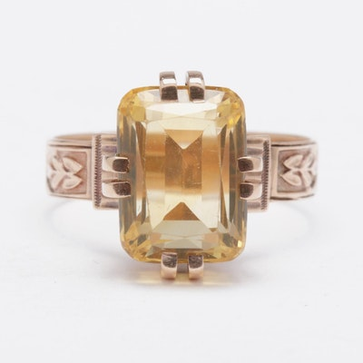 Victorian 14K Rose Gold Citrine Ring