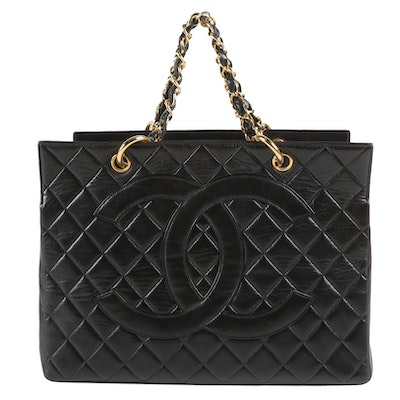 Chanel Timeless CC Tote in Black Quilted Lambskin Leather