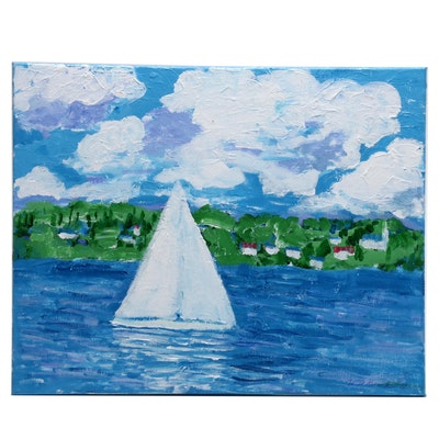"""Will Becker Acrylic Painting """"Clouds and Boats Go By"""""""
