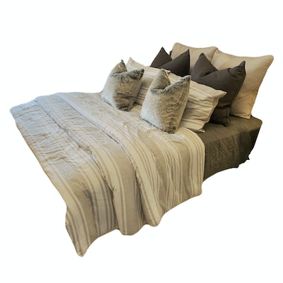 Queen Size Cotton Bedding with Striped Comforter and Decorative Pillows