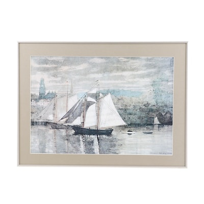 """Offset Lithograph after Winslow Homer """"Gloucester Schooners and Sloop"""""""