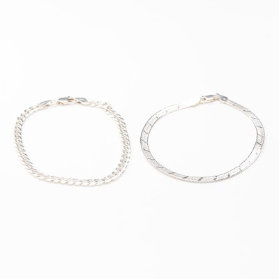 Sterling Silver Two Bracelets in Fancy Link and Curb Style