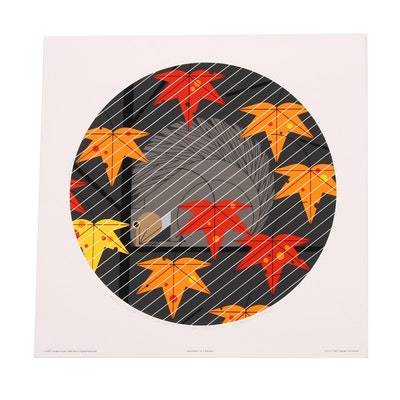 "Charley Harper Serigraph ""Squirrel in a Squall"""