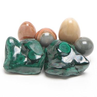 Polished Malachite Specimens, Banded Agate Spheres and Polished Jasper Eggs