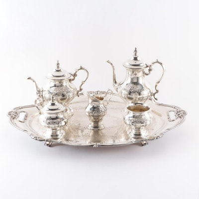 "Gorham ""Chantilly"" Sterling Silver Tea Service with Silver Plate Tray"