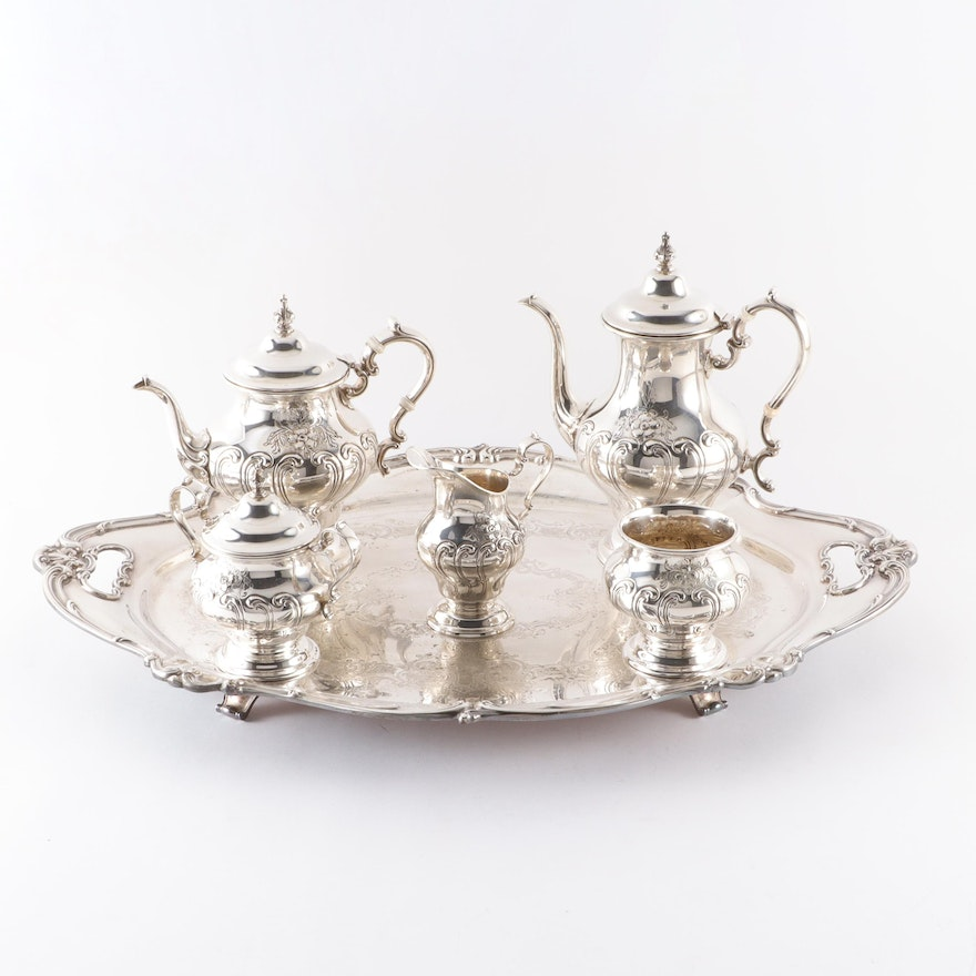 """Gorham """"Chantilly"""" Sterling Silver Tea Service with Silver Plate Tray"""