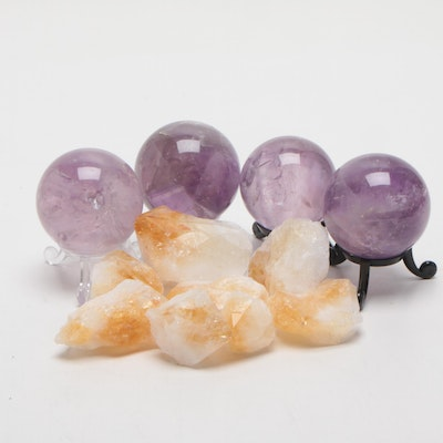 Polished Amethyst Spheres with Natural Citrine Points