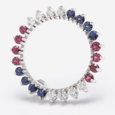 14K White Gold Diamond, Ruby and Sapphire Brooch