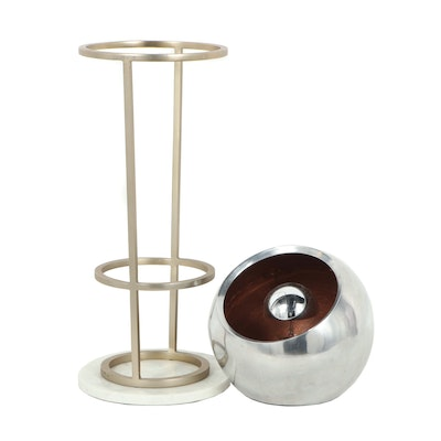 """CB2 """"Siac"""" Lamp with West Elm Brass Stand on Marble Base"""