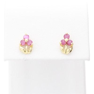 14K Yellow Gold Ruby Flower Stud Earrings