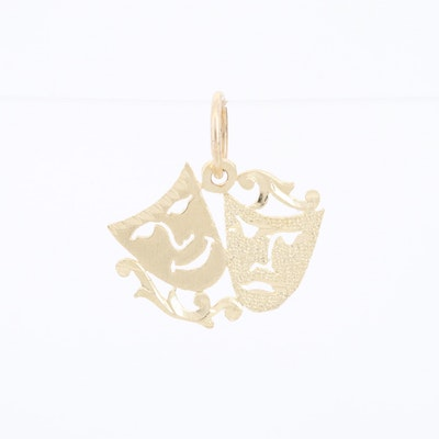 14K Yellow Gold Comedy and Tragedy Masks Pendant