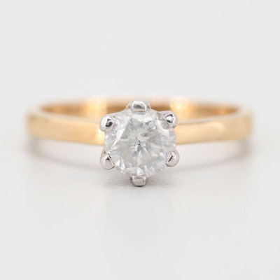 14K Yellow and White Gold Diamond Solitaire Ring