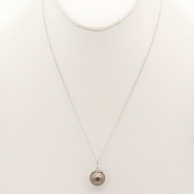 14K White Gold Cultured Pearl Necklace
