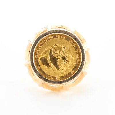 14K Yellow Gold Ring with 1988 China 5-Yuan 1/20 Oz. Gold Panda Bullion Coin