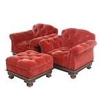Pair of Henredon Tufted Red Velvet Upholstered Club Chairs, Late 20th Century