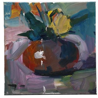"Jose Trujillo Oil Painting ""Daffodil Arrangement"""