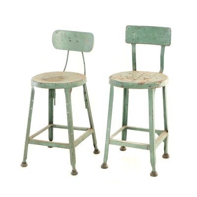 Two Industrial Green-Painted Stools, 20th Century
