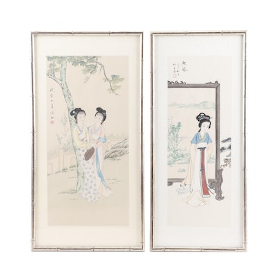 Chinese Watercolor and Gouache Paintings of Beauties in a Garden