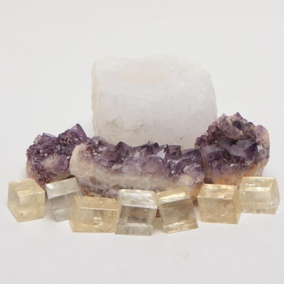 Amethyst Clusters, Calcite Cubes, and White Quartz Candle Holder