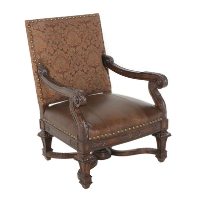 Contemporary Carved Wooden Armchair with Leather Seat