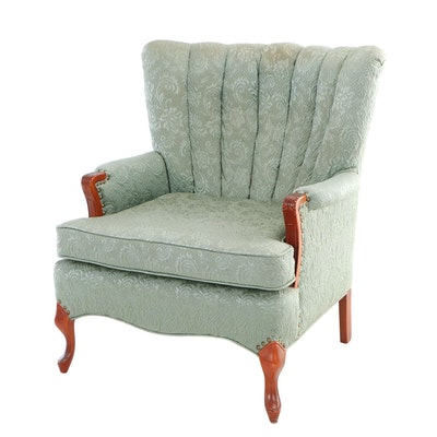 Custom-Upholstered Cherrywood Channel Back Armchair, 20th Century
