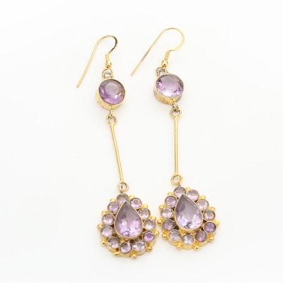 Gold Tone Amethyst Dangle Earrings