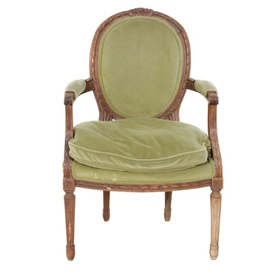 Louis XVI Style Carved Beech Fauteuil, 20th Century