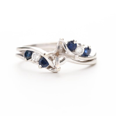 14K White Gold Sapphire and Diamond Semi-Mount Ring