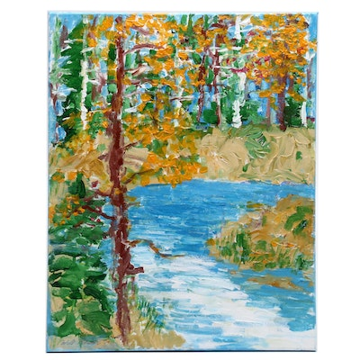 """Will Becker Acrylic Painting """"The Yellow Dog River"""""""