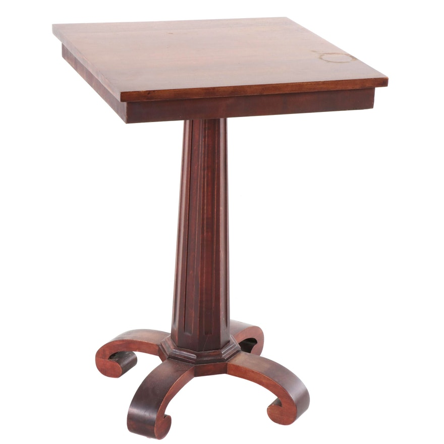 American Empire Style Mahogany Finish Birch Side Table, Early 20th Century