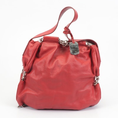 Furla Red Leather Shoulder Bag with Chain Link Accents