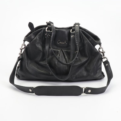 Coach Ashley Black Leather Carryall Convertible Satchel