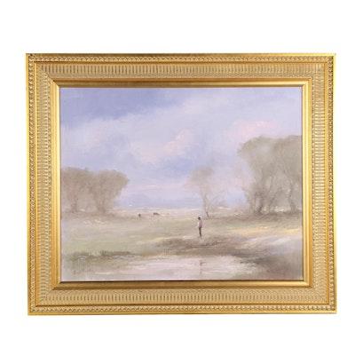 """Paul Burkle Oil Painting """"Lone Fisherman"""""""