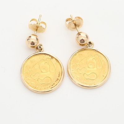 14K Gold Two 1985 China 5-Yuan 1/20th Oz. 24K Gold Panda Bullion Coin Earrings