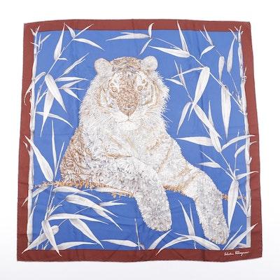 Salvatore Ferragamo Tiger Print Silk Scarf