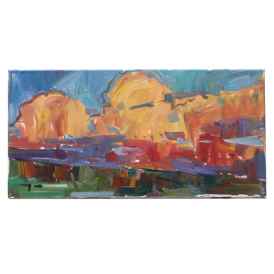 "Jose Trujillo Oil Painting ""Bright Sunset"""