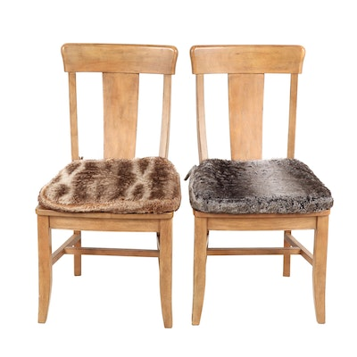 Wooden Side Chairs with Faux Fur Cushions
