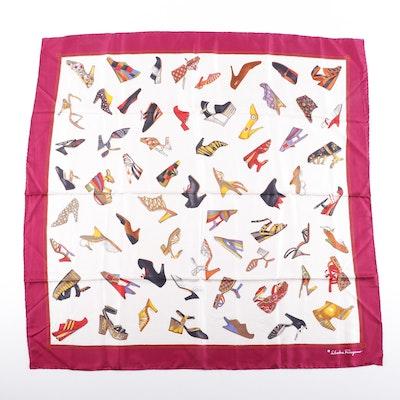 Salvatore Ferragamo Multicolor Shoe Print Silk Scarf, Vintage