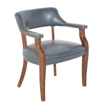 Light Blue Leather Upholstered Wooden Office Armchair