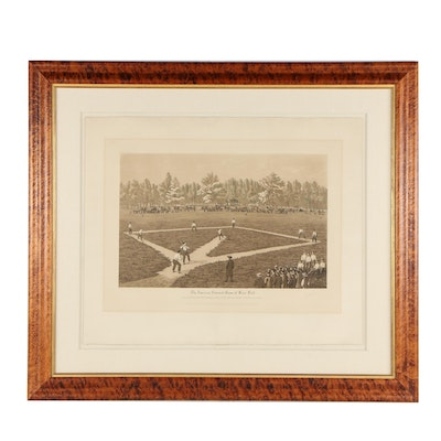 "Raoul Varin Etching ""The American National Game of Base Ball"""