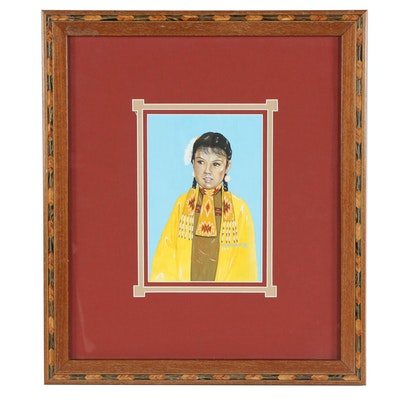 """Mary Horse Chief Gouache Painting """"Girl in Yellow"""""""