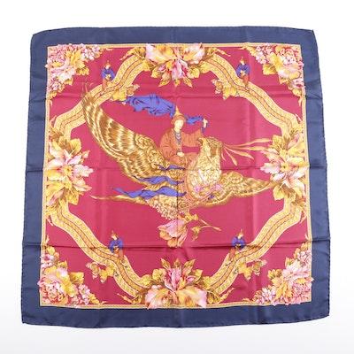 Salvatore Ferragamo Chinese Inspired Floral Print Silk Scarf