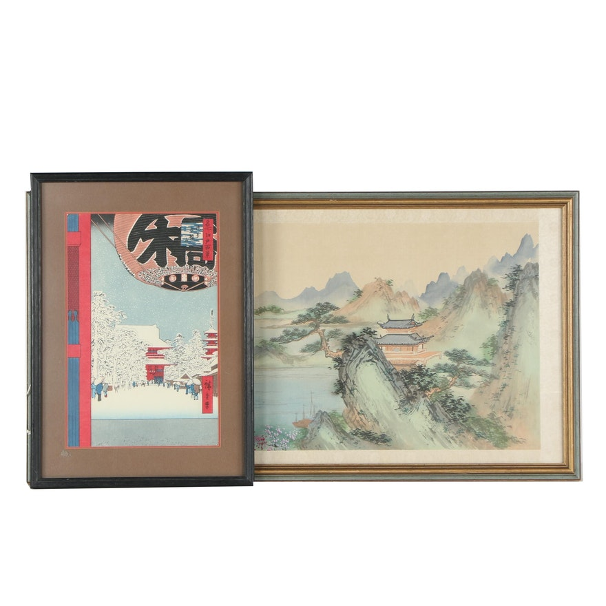 "Ukiyo-e Woodblock After Hiroshige ""Asakusa Kinryūzan"" with Chinese Watercolor"